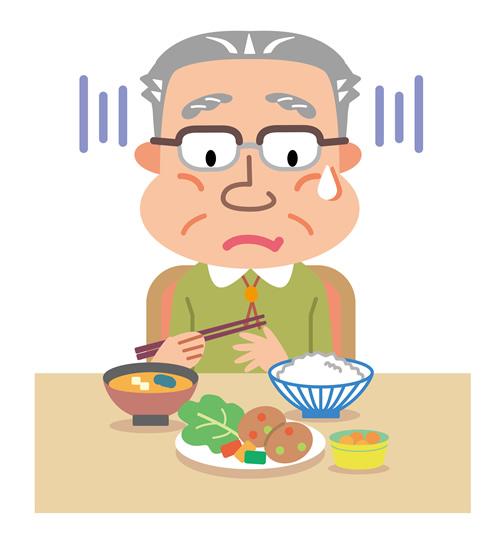 高齢食欲不振の男性のイラスト
