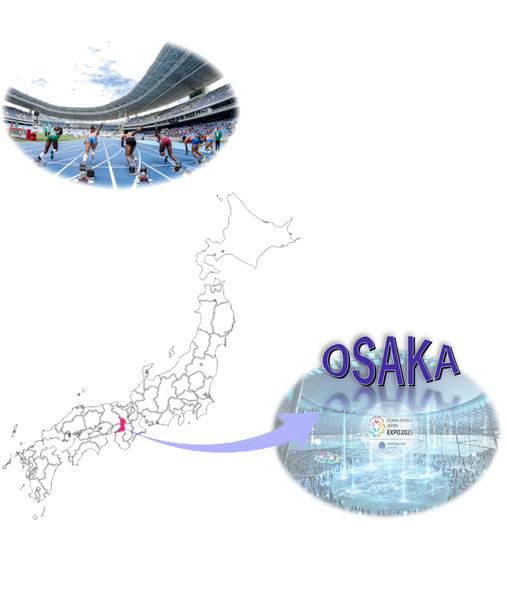 東京オリンピックと日本地図と大阪万博の写真